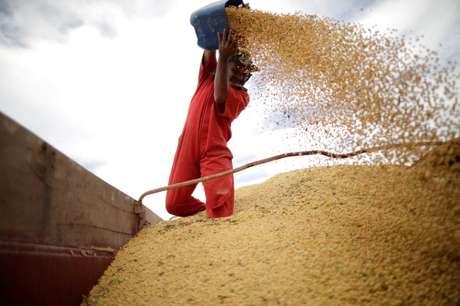 Trabalhador inspeciona grãos de soja em Campos Lindos (TO) 18/02/2018 REUTERS/Ueslei Marcelino