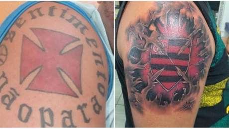 Antes e depois da tatuagem do Gago (Foto: Reprodução)