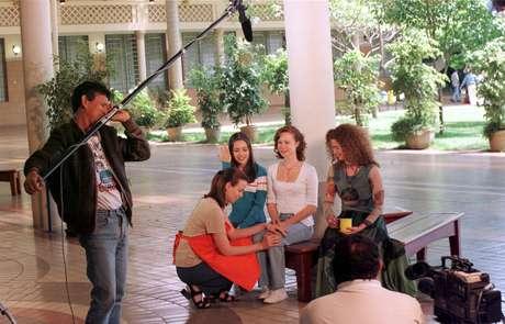Sandy, Mariana Ximenes e Patrícia Lucchesi gravam especial de fim de ano do seriado Sandy & Júnior para a Rede Globo, no Clube Fonte São Paulo, em Campinas.