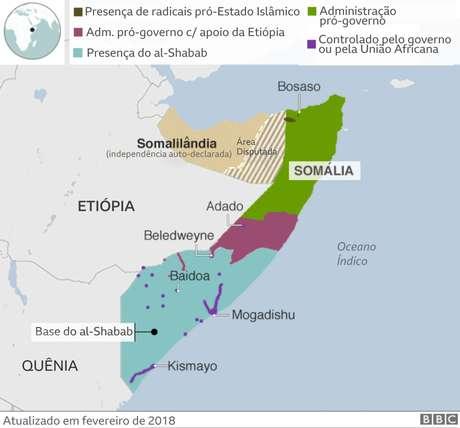 mapa da somália com áreas de controle