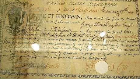Documento assinado pelo ex-presidente dos EUA George Washington em 1792 contém o primeiro uso do cifrão em um documento financeiro americano