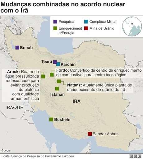 Mapa do Irã mostra pontos onde urânio é enriquecido