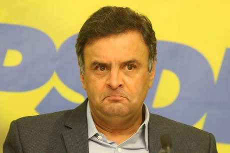 Foto de arquivo de 14/01/2014 do então presidente do PSDB, senador Aécio Neves (MG), durante entrevista coletiva realizada na sede do partido, em Brasília