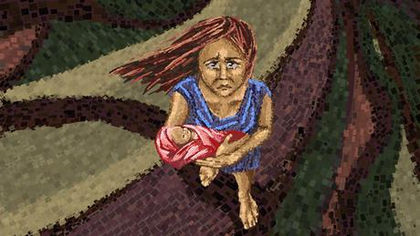 Ilustração de uma mulher com bebê no colo
