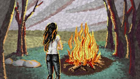 Ilustração de uma mulher olhando uma fogueira