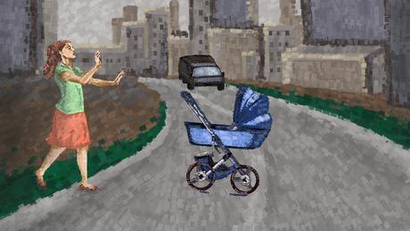 Ilustração de mulher com carrinho de bebê