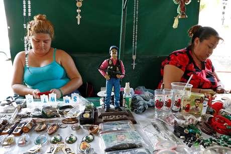 "Estátua de Joaquín ""El Chapo"" Guzmán em mercado de Culiacan, em Sinaloa, no México"