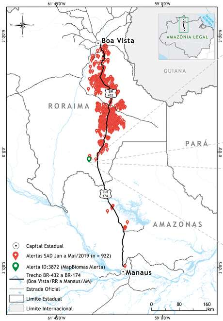 O sistema do Imazon emitiu 922 alertas para o trecho entre Manaus e Boa Vista, de janeiro a maio deste ano