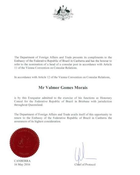 Diploma do ex-cônsul honorário