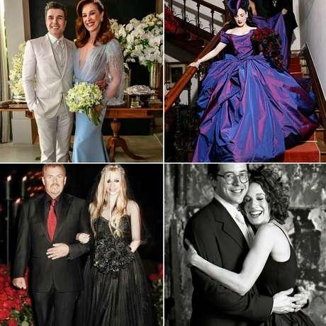 Várias famosas se casaram com vestido colorido: Claudia Raia usou azul, Dita Von Teese optou pelo roxo, Avril Lavigne e Sarah Jessica Parker preferiram preto