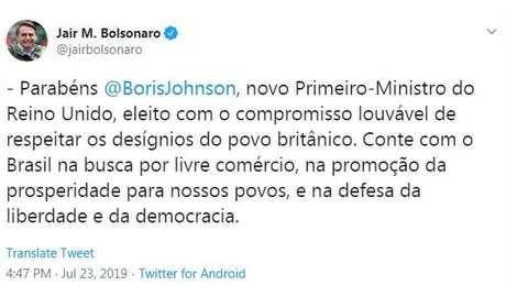 Bolsonaro escreveu tuite entusiasmado após vitória de Boris Johnson como líder do Partido Conservador