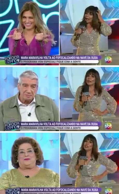 Livia Andrade, Décio Piccinini e Mamma Bruschetta durante o retorno de Mara Maravilha ao 'Fofocalizando'
