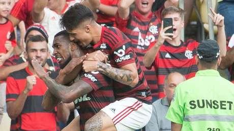 Recém-chegado, Gerson fez o seu primeiro gol com a camisa do Flamengo (Foto: Alexandre Vidal/Flamengo)