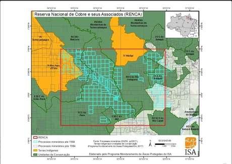 Mapa mostra sobreposição entre a Renca e unidades de conservação, como a Terra Indígena Wajãpi e a Terra Indígena Paru d'Este
