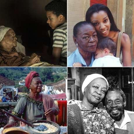 Acima, Ruth de Souza em seu último trabalho na TV, a minissérie Se Eu Fechar os Olhos Agora, exibida este ano; e em O Clone (2001); abaixo, participações em Memorial de Maria Moura (1994) e na primeira versão de Sinhá Moça, ao lado de Grande Otelo (1986)