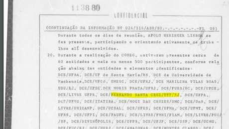 Arquivos do regime militar mostram como o Estado monitorava todas as atividades dos estudantes - entre eles Fernando