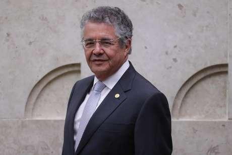 O ministro Marco Aurélio durante sessão no plenário do Supremo Tribunal Federal (STF), em Brasília