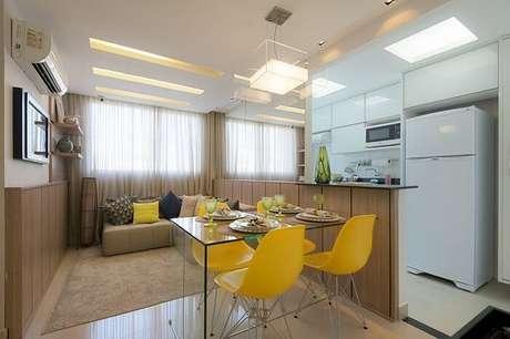 4. Mesa retangular 4 lugares é excelente para espaços pequenos. Fonte: Pinterest