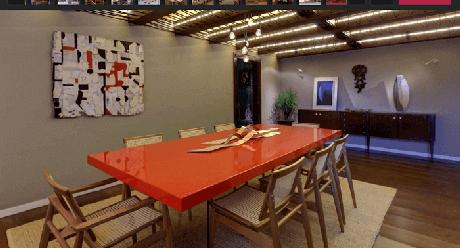 79. Mesa retangular com tampo vermelho encanta decoração desse ambiente. Fonte: Pinterest