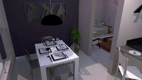 58. Para ambientes pequenos invista em uma mesa retangular 4 lugares. Projeto por Renata Oliveira