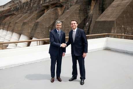 Presidente Jair Bolsonaro e presidente do Paraguai, Mario Abdo, na hidrelétrica de Itaipu, em Foz do Iguaçu