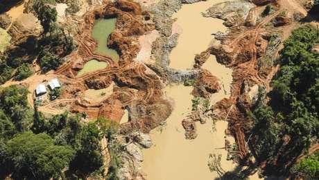 Garimpo ilegal de ouro na Terra Indígena Kayapó, no Pará; atividade se tornou principal vetor de desmatamento em áreas protegidas do Xingu