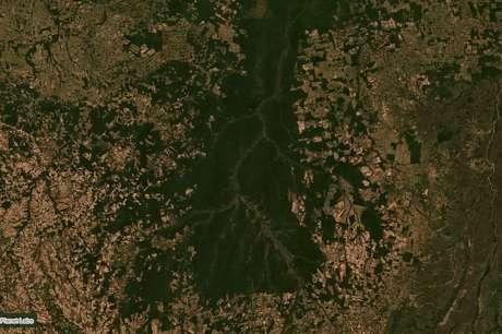 Porção sul da bacia do Xingu, em Mato Grosso, em imagem de satélite de junho; região serve como corredor ecológico e barreira para o avanço do agronegócio na Amazônia