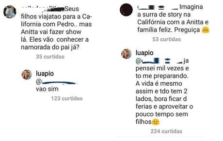 Comentários feitos porLuana Piovani no Instagram.