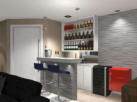 66. Projeto de barzinho para sala com mini geladeira e nichos em branco. Fonte: Cultura Mix