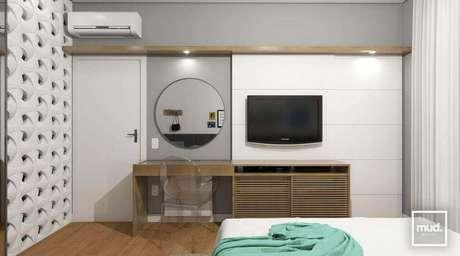 32. Em cima da porta é um ótimo lugar para instalar o ar condicionado split. Projeto de mud. Arquitetura