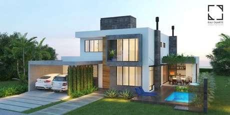 44. Janelas de vidro e detalhes em branco são lindas opções para apostar na sua casa cinza. – Por: Rau Duarte