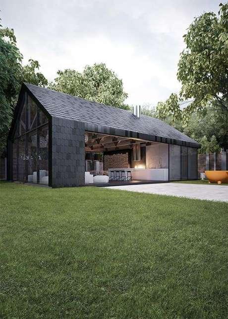 46. Uma opção moderna de casa cinza para investir