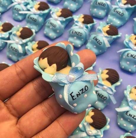 43. Lembrancinha de maternidade de biscuit para menino. Fonte: Grazi Artes em Biscuit