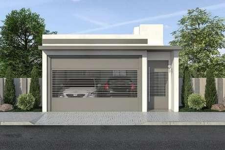 40. Portão de casa cinza com branco