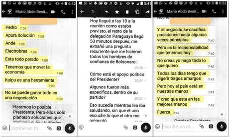 Algumas das mensagens que mario Abdo Benítez teria enviado para Pedro Ferreira sobre a negociação de Itaipu
