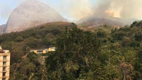 Incêndio atinge área de mata na Reserva Florestal do Grajaú.