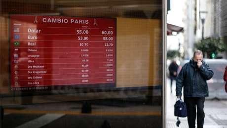 No dia seguinte às primárias, o dólar saltou de 46 pesos para 60 pesos nas casas de câmbio