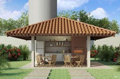 1. Área gourmet na churrasqueira com telha colonial – Por: Pinterest