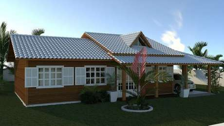 15. Decoração de casa de madeira com telha colonial na cor branca – por: Revista VD