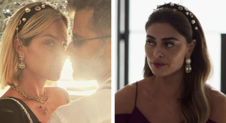 Giovanna Ewbank e Juliana Paes usam tiaras iguais (Fotos: @gio_ewbank/Instagram/Reprodução - @adonadopedacoprints/Instagram/Reprodução)