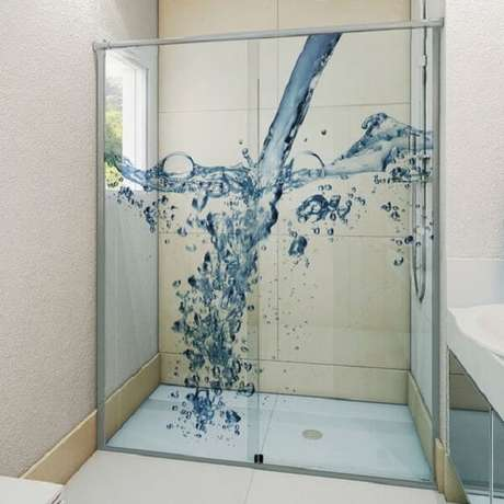 23. Adesivo para box de banheiro com o tema água. Fonte: Pinterest