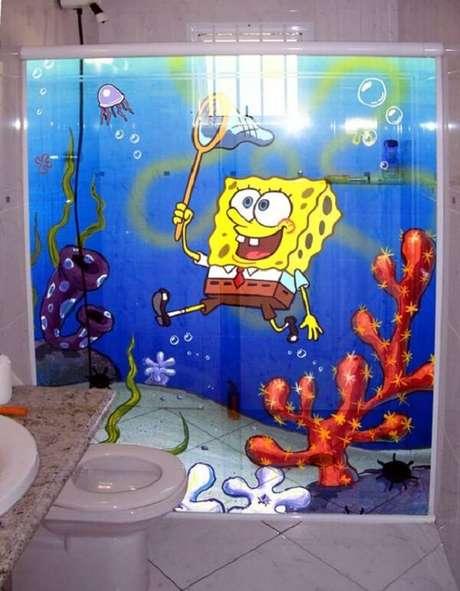 28. Adesivo para box de banheiro com temático de Bob Esponja. Fonte: Pinterest
