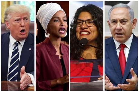 Presidente dos EUA, Donald Trump, deputadas norte-americanas Ilhan Omar e Rashida Talib, e premiê de Israel, Benjamin Netanyahu 15/08/2019 REUTERS/Fotos de Arquivo