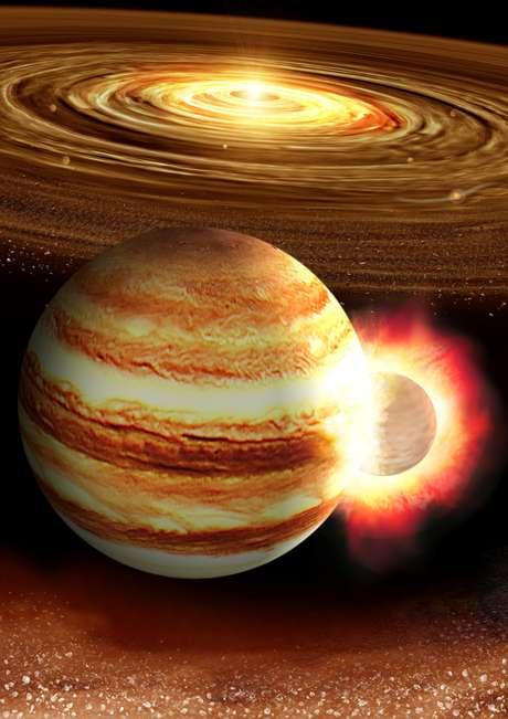 Ilustração representa a colisão de Júpiter com um protoplaneta  14/08/2019 Cortesia de Kyosuke Suda e Yuki Akimoto/Mabuchi Design Office, Centro de Astrobiologia, Japão/Divulgação via REUTERS