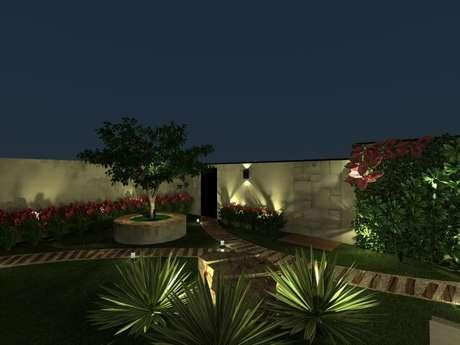 38. Arandelas externas em jardim. Projeto de Alessandra Santos Scatolin