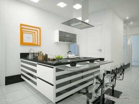 26. Bancada para cozinha americana preta e branca – Foto: Thiago Luz