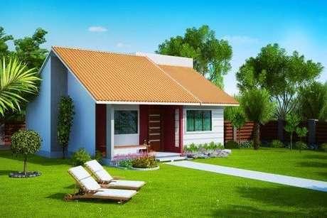 45- Fachada para casas pequenas com varanda.