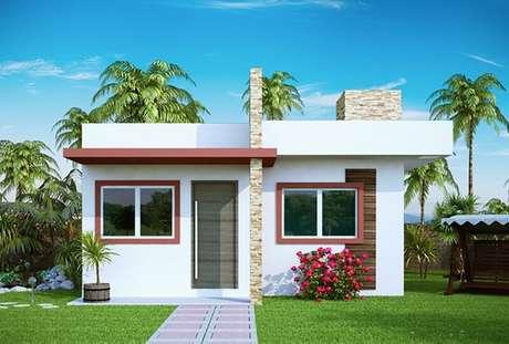 43- Modelo de fachada de casa simples e moderna para casas pequenas.