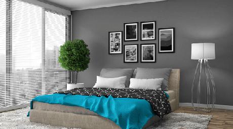 17-As cores para quartos de casal com tons escuros necessitam de elementos para contrastar e levar charme ao cômodo. Fonte: Pinterest