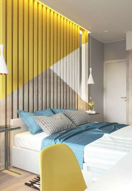 93. Decoração para quarto colorido azul e amarelo – Foto: Ideas Decor